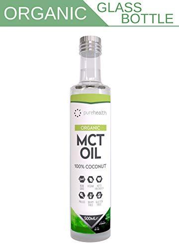 Aceite Ecológico de MCT Puro   100% de Coco   Cálidad Premium   Botella de cristal   Ácido Caprílico C8 & Ácido Cáprico C10   Sin GMO   Paleo   Dieta Keto   Bulletproof Café (500ml Ecológico C8/C10)