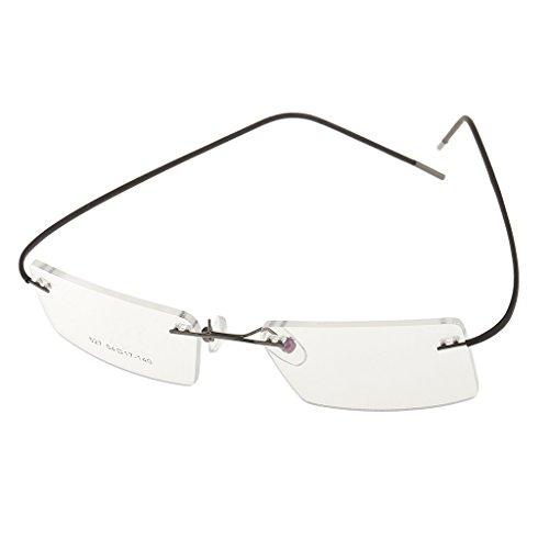 MagiDeal Randlos Brillengestell Metall Brillenfassung Lesebrillen Bügel - leicht, flexibel und...