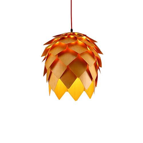ZHAS Moderne hölzerne Leuchter-Schlafzimmer-Wohnzimmer-Küchen-hängende Leuchte E27, kreative Kiefer-Frucht-Form-Deckenleuchte, verschiedener Speicher-dekorativer Leuchter, Durchmesser 40cm \u0026 (Kiefer-kuchen)