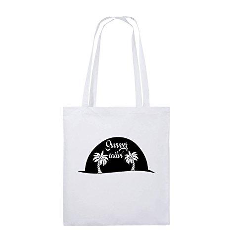 Comedy Bags - Summer callin - PALMEN - Jutebeutel - lange Henkel - 38x42cm - Farbe: Schwarz / Pink Weiss / Schwarz