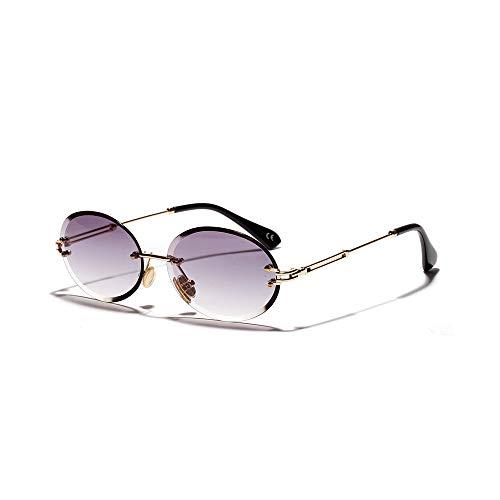 JUZEN Damen Sonnenbrille Keine Grenzen Ovale Brille Kristall Leichte Sonnenbrille Diamantschnitt Gesicht Komplexe Trend Mode Sonnenbrillen,B