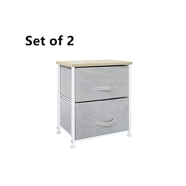 QIHANG-UK Pair of Bedside Table Bedroom Nursery Nightstand Children's Room Bedside Lamp Table Chest of 2 Drawers Grey (001 * 2) QIHANG-UK Utility Storage Unit: this chest of drawers will help on improving the efficiency of space usage, make it easier for you to classify and storage stuff, it is suitable for both personal and family use Sturdy and Durable: solid metal frame and x-shaped bar behind ensure the stability, plastic caps on feet keep floor from scratches; upper 18mm wood board which is solid and simple to clean up; this storage unit is sturdy and durable Easy to assemble: with the aid of the included mounting accessories, the storage system with drawers can be built in 5-10 minutes 1
