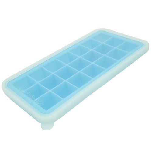 Xingzhao Eiswürfelform,stücke silikon eiswürfelbehälter mit Deckel,21 Stück Eiswürfel(azurblau)