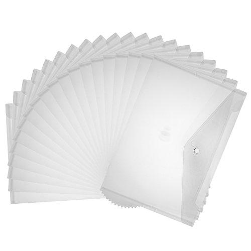 Shappy 20 Pezzi A4 Formato Cartella Trasparente Documento Denso PVC File Busta con Chiusura del Pulsante a Scatto per Ufficio Scuola Forniture