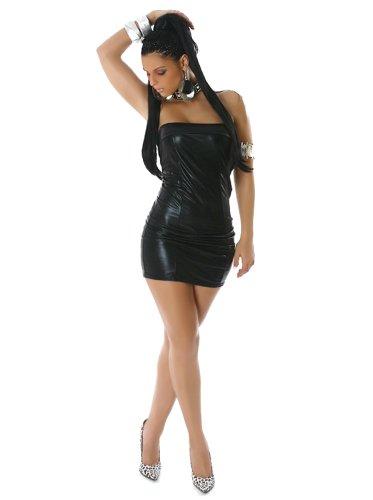 Robe courte bandeau aspect cuir Noir - Noir
