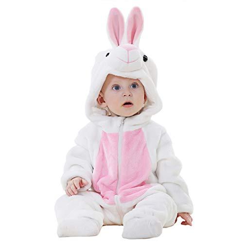 YISHU Kinder Baby Tier Kostüme Tieroutfit Flanell Pyjama Cosplay Jumpsuit Schlafanzug Mädchen Jungen Winter Nachtwäsche Hase 80