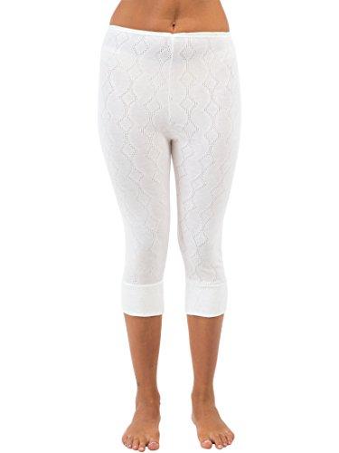 Womens/Ladies Thermal Underwear White 3/4 Length Long Pants, Various Sizes