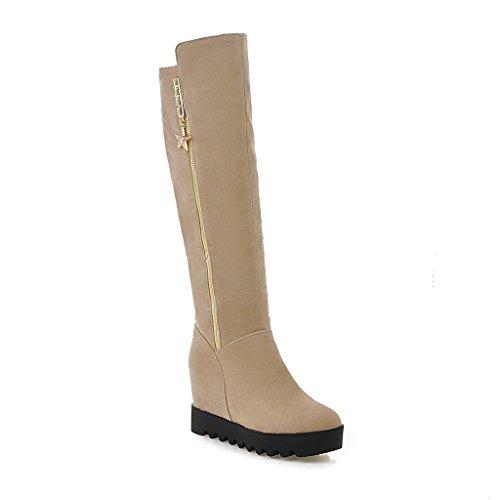 Verziert Schnee Stiefel (KAFEI Damen starten im Herbst und Winter runden Kopf fusselfreien langen Lauf erhöhte seitlichen Reißverschluss verziert, beige 36)