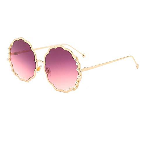 HQMGLASSES Round Sungbrillen für die Damenmode-Designerin Pearl Frame & Circle Tinted Gradient Lens Glasses UV400,04