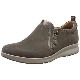 Clarks Women's Un Adorn Zip Loafers, Grey (Taupe Combi 7 UK