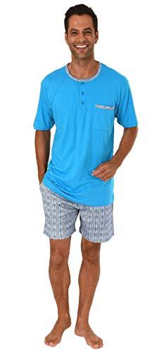 NORMANN WÄSCHEFABRIK Herren Shorty Pyjama Kurzarm mit Karierter Hose, auch in Übergrössen bis Gr. 70-191 105 90 500, Größe2:66, Farbe:blau
