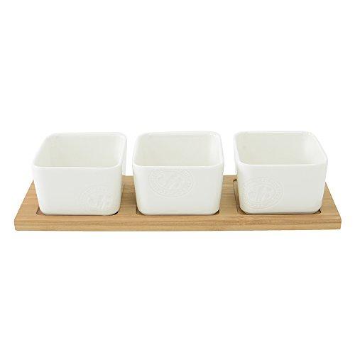 ProCook Porzellan, Servierschalen-Set, mit Tablett aus Bambus