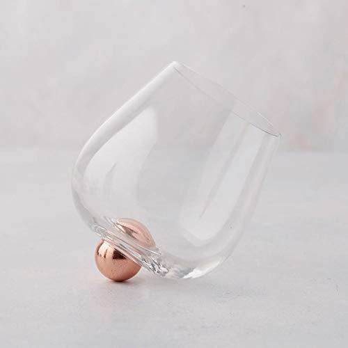 Aura-Glas - Einzigartiges Glas für Wein und Spirituosen, kein Verschütten, mit modernen Holz-Eichen-Untersetzern, ca. 400 ml Fassungsvermögen, hergestellt in den USA, 2 Stück rose gold -
