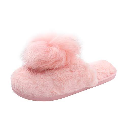 STRLONG Hausschuhe Damen Plüsch Pantoffeln Rutschfester Warm Mädchen Hausschuh Hause Schuhe Pantoletten Weiche Sohle Bequem Flip Flop Sandalen Pink 36 37