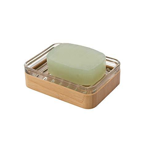 mDesign Jabonera de bambú - Práctico y ecológico Soporte para jabón de Aspecto Natural Que Evita restos de jabón sobre su Lavabo - El Porta jabones Ideal para su Cuarto de baño