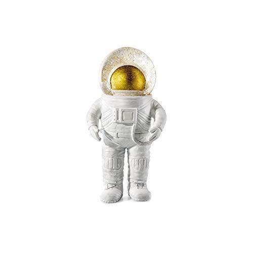 DONKEY Products Summerglobe The Astronaut, Schneekugel, Glitzerkugel, Dekoration, Glas, Polyresin, Weiß, Golden, 17 cm, 330441