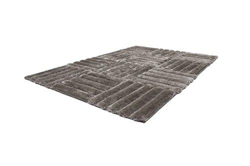 Preisvergleich Produktbild Dreams4Home Hochflorteppich 'Square II', silber, grau, handgefertigt, 45 mm, Hochflor, Shaggy, 80x150 120x170 160x230, 3D-Effekt, weich, Größe:160 x 230 cm