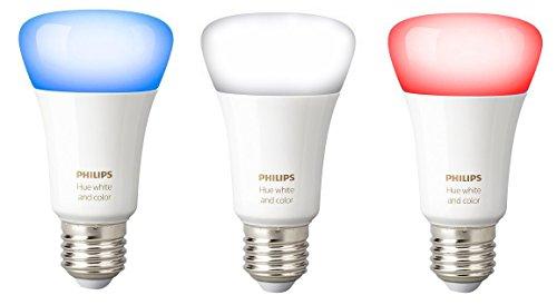 Philips Hue Lot de 3 Ampoules connectées White and Color E27 - Fonctionne avec Alexa