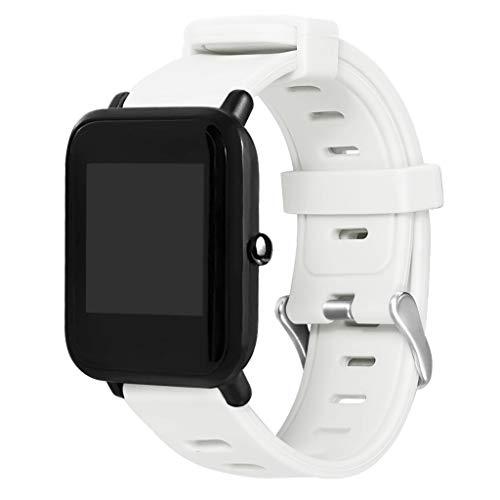 WAOTIER für Huami Amazfit Bip Youth Armband Silikon Armband mit Großen Löchern Armband für Xiaomi Huami Amazfit Bip Youth Lite Watch Wasserdichter Atmungsaktiver Armband für Männer und Frauen (Weiß)