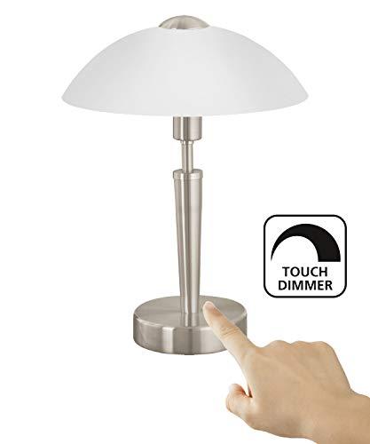 EGLO Tischlampe, Nachttischlampe touch dimmbar Tischleuchte SOLO 1 aus Stahl mit Touchdimmer nickel-matt, E14, 26 x 26 x 35 cm -