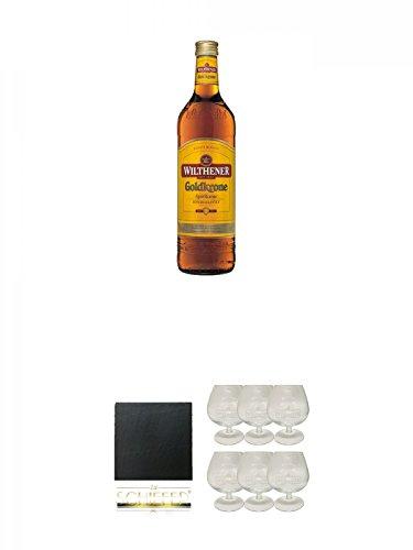 Wilthener Goldkrone Weinbrand 0,7 Liter + Schiefer Glasuntersetzer eckig ca. 9,5 cm Durchmesser +...
