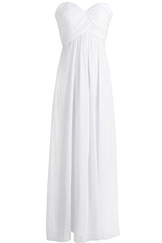 Tiaobug Damen Kleider elegant Abendkleid festlich Hochzeit Cocktailkleid Chiffon Faltenrock langes Brautjungfernkleid Gr. 34-46 Weiß 36 (Herstellergröße: 6) (Satin Elegantes Kleid)