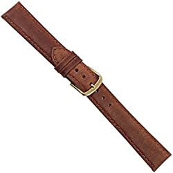 "Uhrbanddealer 12mm Ersatzband Uhrenarmband ""Nubuk"" Kalb - Nubuk Leder Band Rost - Braun matt 076112g"