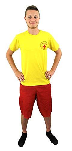 ILOVEFANCYDRESS MÄNNER LEBENRETTER KOSTÜM VERKLEIDUNG=ROTES Tshirt+ROTE Shorts =Sommer Pool Party ODER Strand=Fasching SEXY ()
