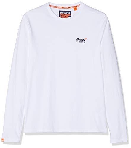 Superdry Herren Sleek Tennis Trainer Langarmshirt, Weiß (Optic White 26C), Small (Herstellergröße:S)