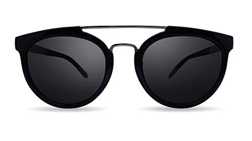Overdose Sunglasses - Sophie Black, Schwarz Unisex Sonnenbrille Schwarz Silber Doppel-Brücke Doppel-Brücke polarisierte UV400 Schutz