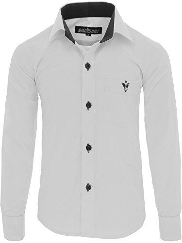 GILLSONZ A7vDa Kinder Party Hemd Freizeit Hemd bügelleicht Lange Arm mit 10 Farben Gr.86Bis158 (152/158, Weiß)