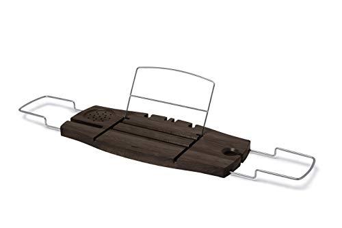 Umbra Aquala Badewannenablage - Ausziehbares Badewannenbrett für Seife, Weinglas, Buch, Tablet, iPad und Badeaccessoires sowie Rasierer und Schwamm, Kautschukholz / Walnussbraun