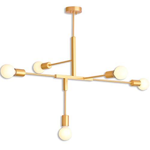 5-licht-esszimmer-kronleuchter (5-Licht Sputnik Kronleuchter Beleuchtung, Golden Modern Pendelleuchte Gold Mid Century Deckenleuchte für Esszimmer Bed Room Küche Zimmer Licht)