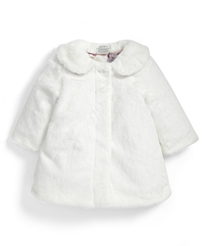 Mamas & Papas Baby-Mädchen Mantel Faux Fur Collar Coat, Off-White (Off White), 68