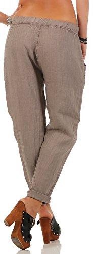 malito Damen Hose aus Leinen | Stoffhose in Unifarben | Freizeithose für den Strand | Chino