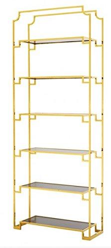Casa Padrino Luxus Regal Schrank Edelstahl Gold mit Rauchglas B 90 x H 230 cm Bücherregal Regal Schrank - Art Deco Möbel