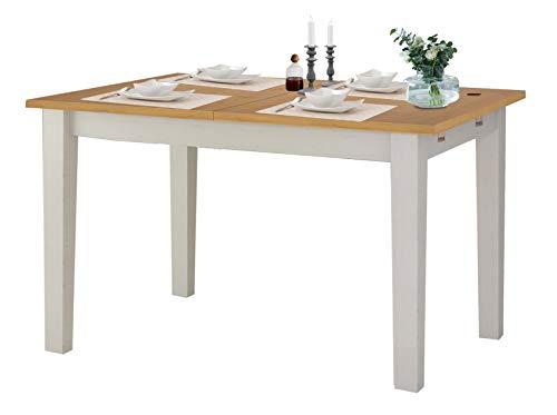 Loft24 TAVIAN Esstisch Esszimmertisch ausziehbar 120-160 cm Küchentisch Holztisch Esszimmer Kiefer Holz weiß honig