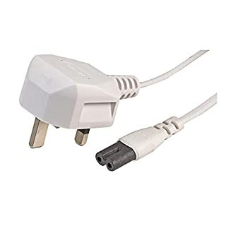 Invero® 3M Figure 8 Mains Power Charger Cable UK 3 Pin Cord IEC C7 Lead - 3 Metre White