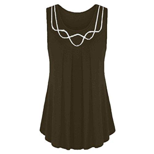 Kobay Damen Sleeveless O-Neck Pure Color Plus Size Vest Blouse Top Tunic Shirt(XX-Large,Kaffee) (Color Block-spitze, Top)