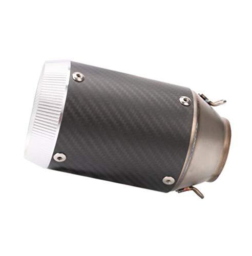 Huashao Motorradauspuffrohr, Edelstahl + Carbon-Entlüftungsrohr, passend für CBRS1000 Yamaha R1 / 6R Kawasaki Z1000 / ER6N Modifikation,carbonsilver -