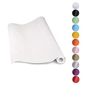 KINLO Aufkleber Küchenschränke weiß 61x500cm aus hochwertigem PVC Tapeten Küche Klebefolie Möbel wasserfest Aufkleber für Schrank selbstklebende Folie Küchenfolie Dekofolie MIT GLIETZER
