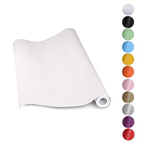 KINLO Adesivi carta per mobili 0.6M*5M(1 Rotolo) Bianco Nessuna colla PVC Impermeabile Adesivi mobili rinnovato mobili da cucina autoadesivo wall sticker per guardaroba