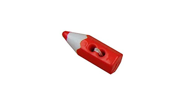 Lotto di 6 Bottoni a Forma di Matita Colore M /& C Rosso