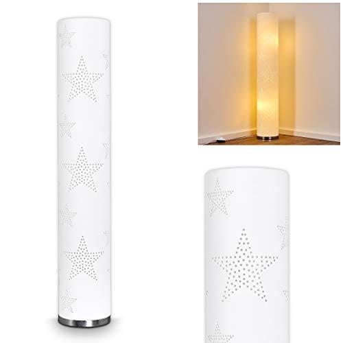 Stehlampe Macossa, moderne Stehleuchte aus Textil in Weiß/Chrom, mit Sternenmuster, Ø 19, 2 x E14-Fassung, max. 30 Watt, mit Fußschalter am Kabel, auch geeignet für LED Leuchtmittel - Chrom Moderne Stehleuchte