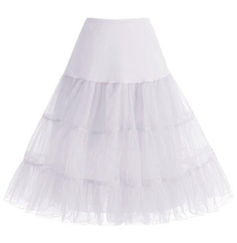 at Vintage Retro Unterrock Reifrock Underskirt für Rockabilly Kleid White S ()