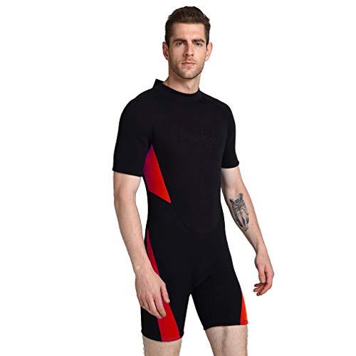 EMEIJIA Tauchanzüge Shorty Männer Frauen 3mm Neopren-Anzug Surfen Tauchen Anzug Erwachsene Badeanzug Wassersportanzug Neopren- Männer Shorty Anzug,Rot,6XL -