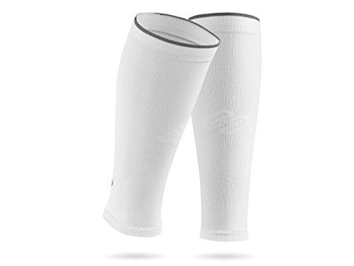 SportHacks  Sleeves - Schienbeinschonerhalter & Stutzenhalter mit Kompressionseffekt (Weiss Basic, III | Wadenumfang 32-38cm)