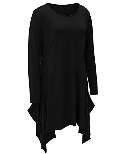 Donna Girocollo Lunga Top Irregolare Mini Abiti Camicetta Pullover Oberteil Bluse e Camicie Nero
