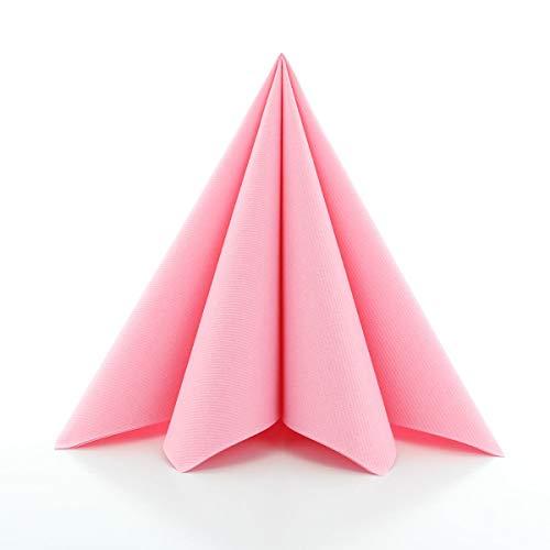 Sovie HORECA Airlaid-Servietten 40x40 cm | hochwertige Einweg-Servietten | extrem saugstark und stoffähnlich | ideal für Hochzeit & Partys | 50 Stück | Rosa