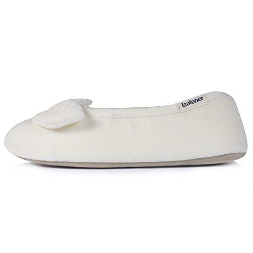 Isotoner chaussons ballerines pour femme Ivoire
